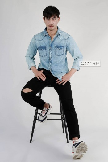 Men 2 Pockets Denim Shirt