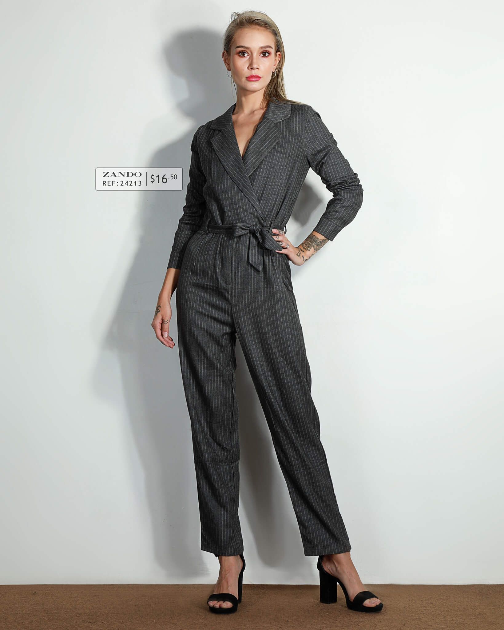 Lady Long Sleeves Tie- Front Striped Long Jumpsuit