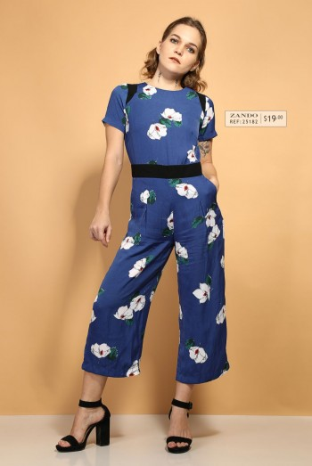 Ten11 Lady Short Sleeves Floral Printed Jumpsuit