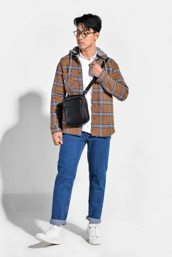 Men Long Sleeves Loose Fit Checked Hooded Jacket