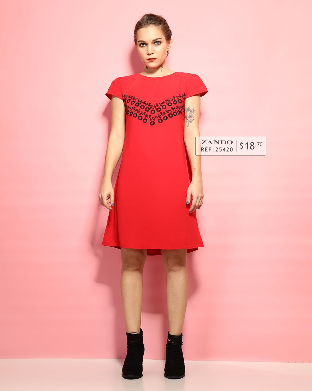 Ten11 Lady Embroidered Mid Dress