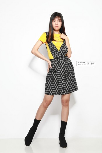 Ten11 Lady Polka-Dot Double V-Neck Strappy Dress