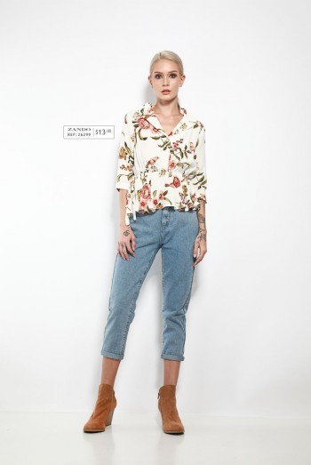 Ten11 Lady Short Sleeves Floral Tie-Front Blouse