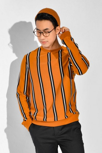 Men Long Sleeves Striped Sweater Shirt