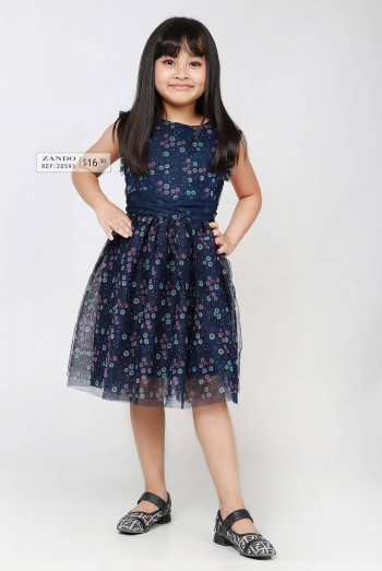 Kids Tie-front Over Printed Jersey Dress