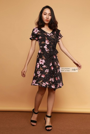 Lady Floral Ruffled Dress