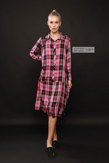 Ten11 Lady Long Sleeves Checked Ruffled Dress