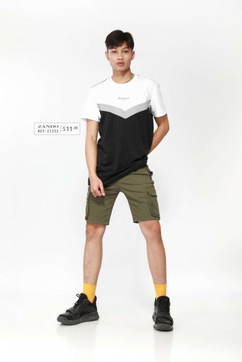 Men Short Sleeves Block Sweater Shirt