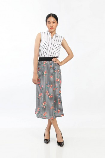 Ten11 Lady Floral Printed Striped Skirt