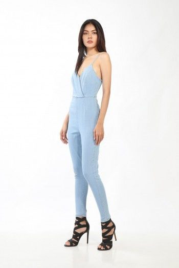 Lady V-Neck Denim Long Jumpsuits