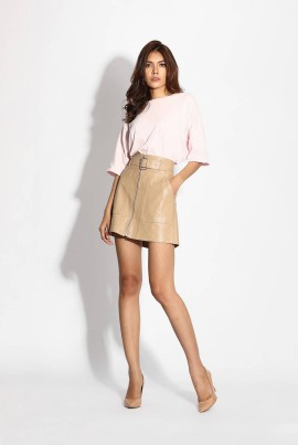 Ten11 Lady Leather Short Skirt With Belt