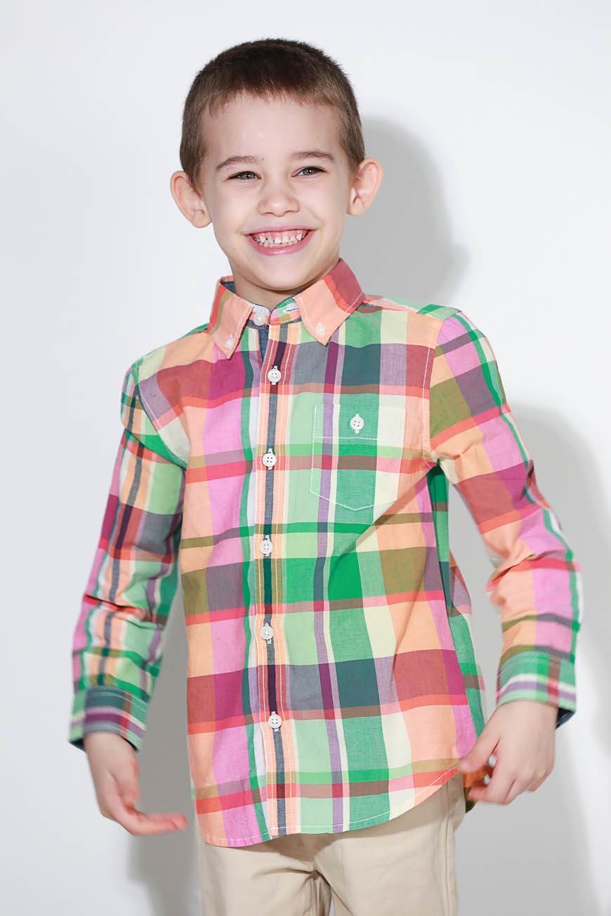 Kids Long Sleeves Checked Shirt