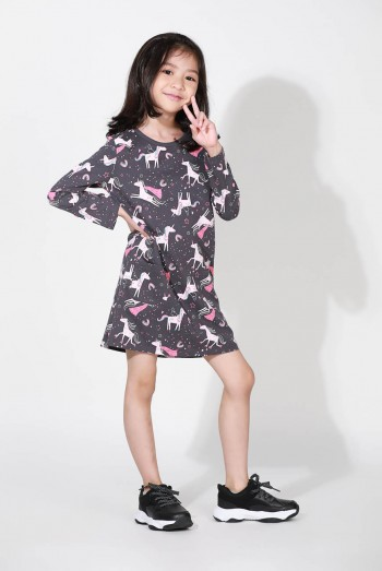 Kids Long Sleeves Over Printed T-Shirt Dress