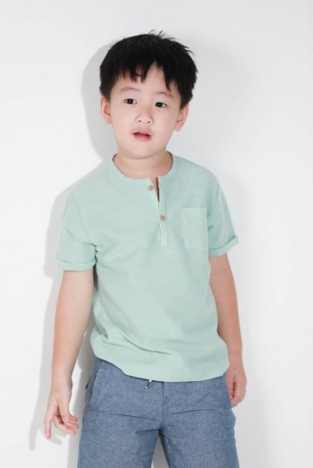 Kids Short Sleeves Henley T-Shirt