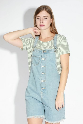 Lady Short Denim Jumpsuit