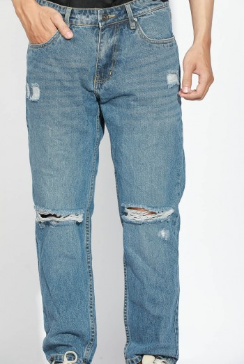 Ten11 Men Relaxed Fit Trashed Jeans