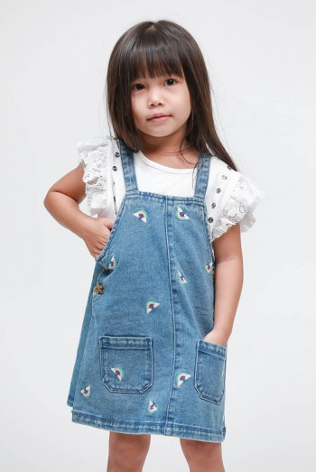 Kids Short Denim Jumpsuit