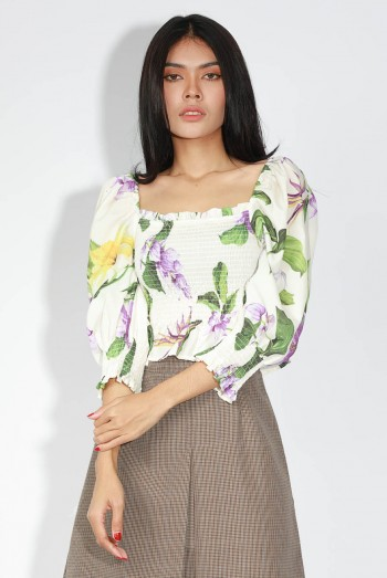 Ten11 Lady Long Sleeves Floral Over Printed Off-The-Shoulder Blouse