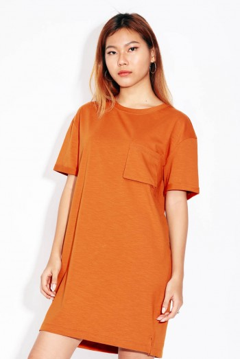 Scottmo Lady Short Sleeves Pocket T-Shirt Dress