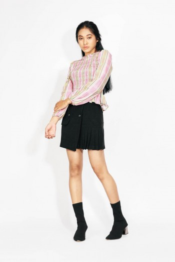 Ten11 Lady Long Sleeves Checked Ribbed Top
