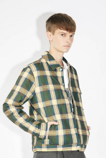 Ten11 Men Long Sleeves Bomber Checked Jacket