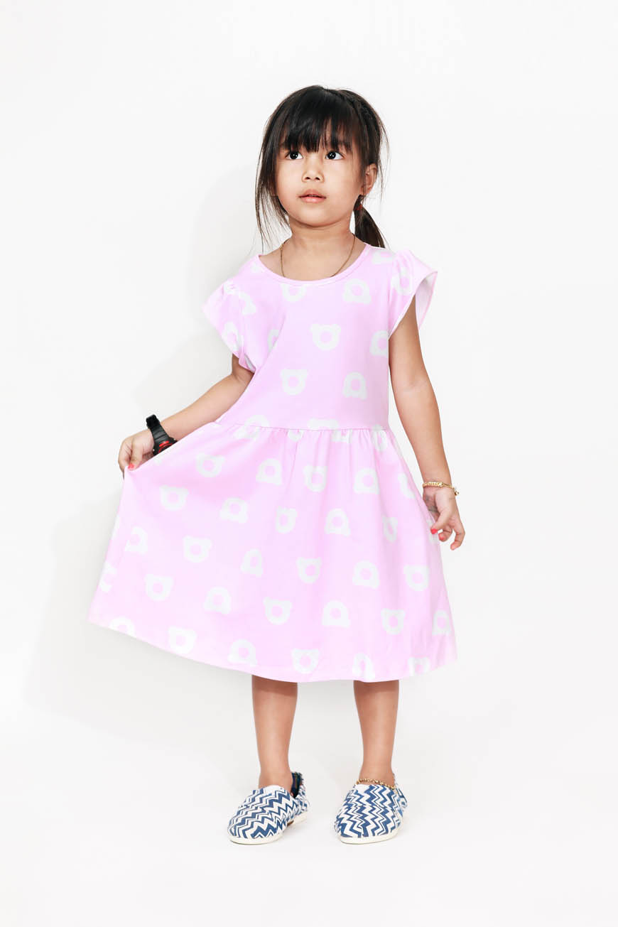 Kids Short Sleeves Printed Dress
