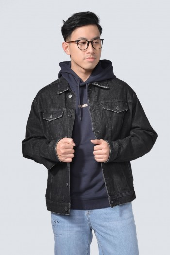 Men Long Sleeves Loose-Fit Denim Jacket