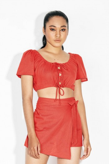 Ten11 Lady Short Sleeves Off-The-Shoulder Linen Crop Top