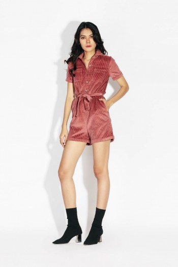 Ten11 Lady Short Sleeves Tie-Front Velvet Short Jumpsuit