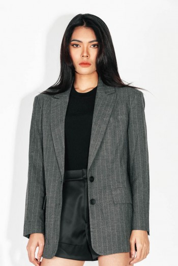 Ten11 Lady Long Sleeves Striped Suit Jacket