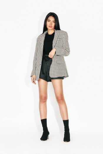 Ten11 Lady Long Sleeves Checked Suit Jacket