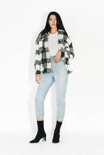 Ten11 Lady Long Sleeves Checked Bunny Jacket