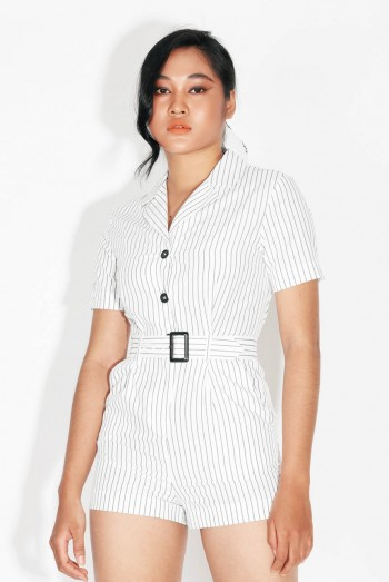 Ten11 Lady Short Sleeves Striped Short Jumpsuit With Belt