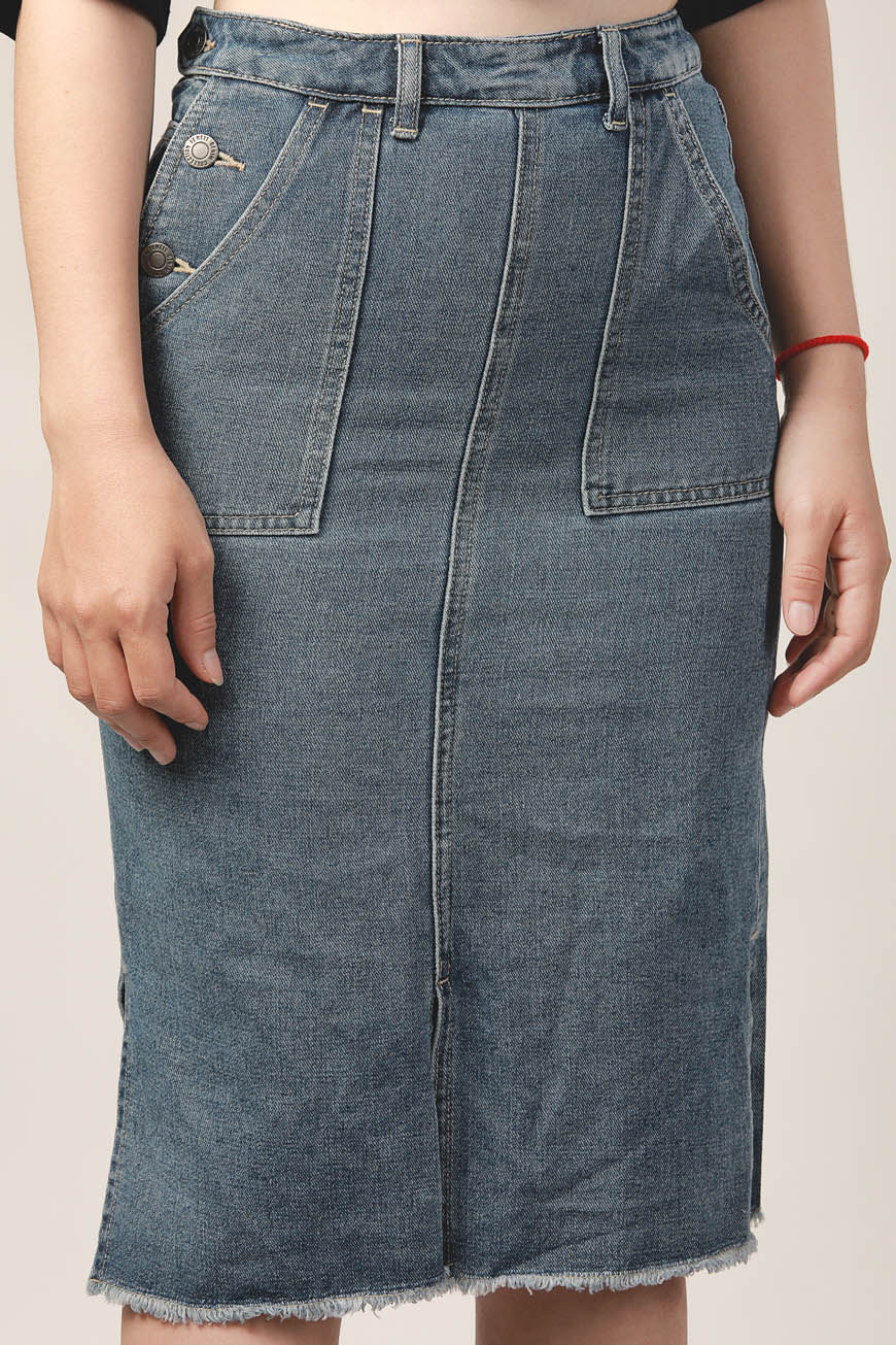 Ten11 Lady Denim Midi Skirt