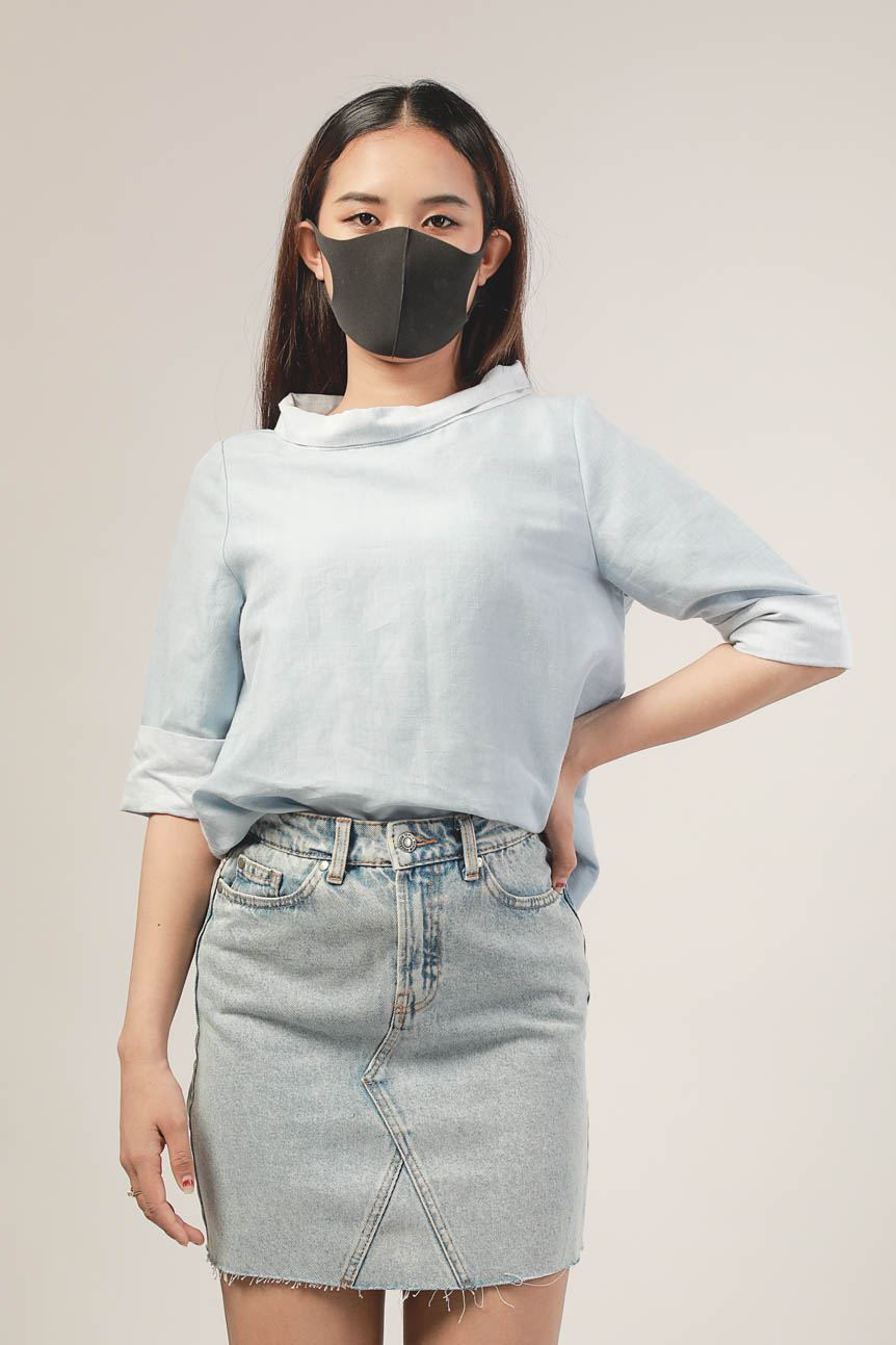Ten11 Lady Roll-Sleeve Mock-Neck Blouse